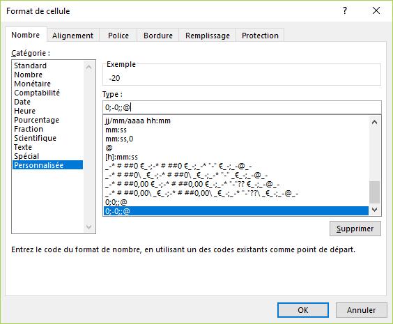 Excel - Masquer les valeurs nulles