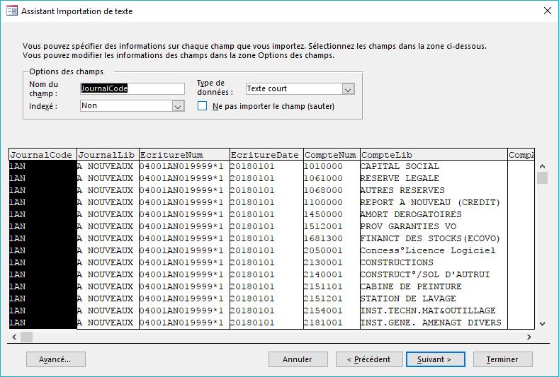 ACCESS - Assistant importation de texte - Champs