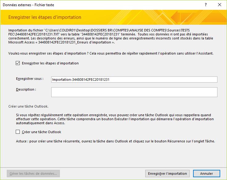 ACCESS - Assistant importation de texte - Enregistrer