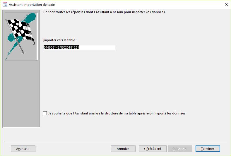 ACCESS - Assistant importation de texte - Nom table
