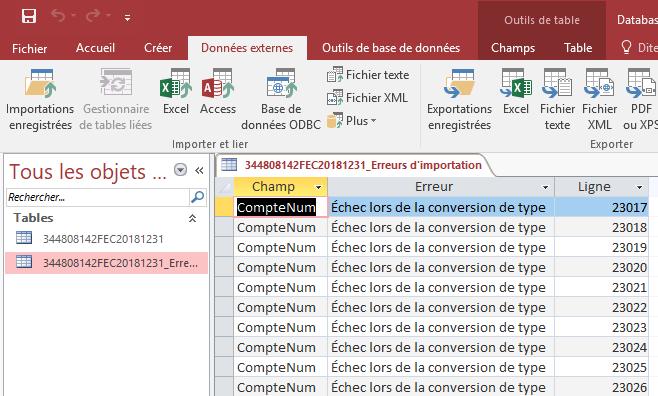 ACCESS - Assistant importation de texte - Table des erreurs