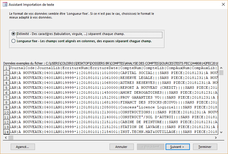ACCESS - Assistant importation de texte