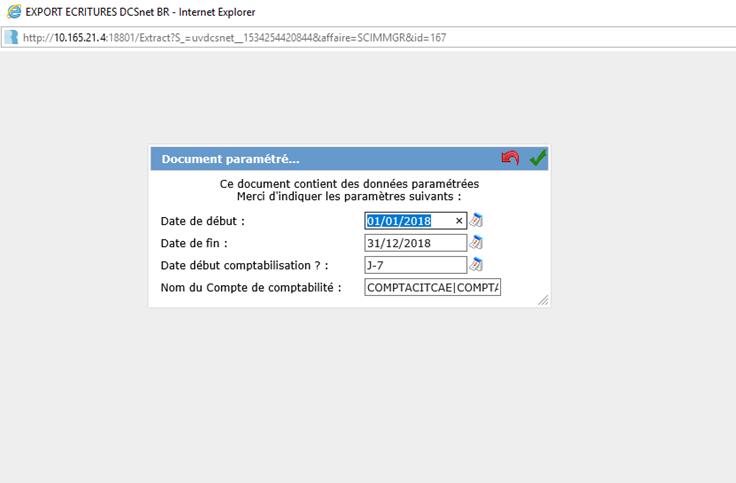 Accueil requête préparamétrée DCSnet
