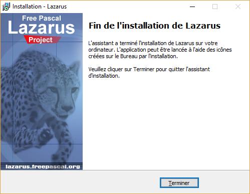 Fin de l'installation de LAZARUS