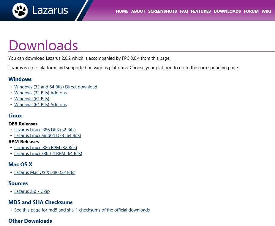 Page de téléchargement LAZARUS
