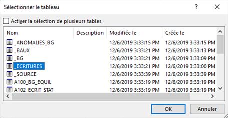 EXCEL - Sélection tableau ACCESS