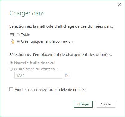 Excel Charger dans