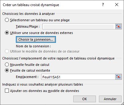 Excel TCD source externe