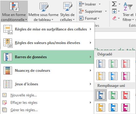Excel - Mise en forme conditionnelle Barres de données