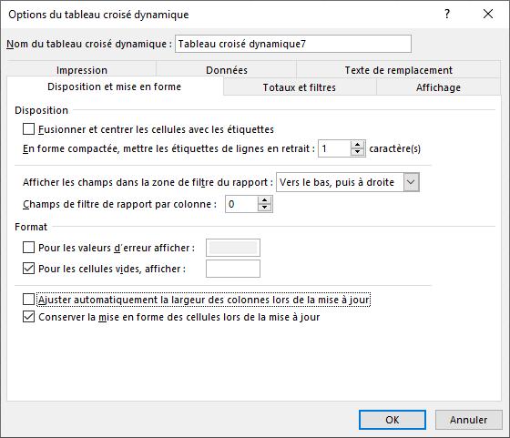 Excel - TCD Menu Analyse options du TCD