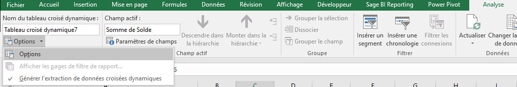 Excel - TCD Menu Analyse options