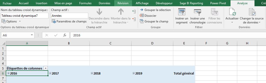 Excel - TCD Menu Analyse
