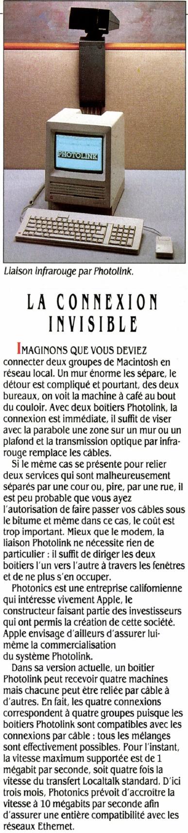 Liaison infrarouge Photolink, la connexion invisible, SVM n° 68 (janvier 1990), p. 20