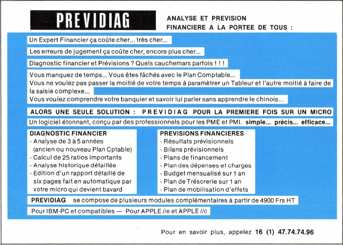Publicité pour le logiciel d'analyse et de prévision financière PREVIDIAG (1986)