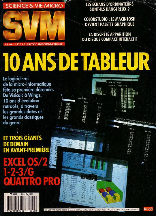 Une du SVM n° 68 (janvier 1990) : 10 ans de tableur