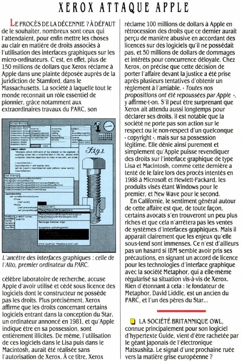 XEROX attaque Apple, SVM n° 68 (janvier 1990), p. 13