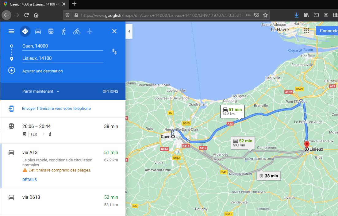 Google Maps Caen Lisieux