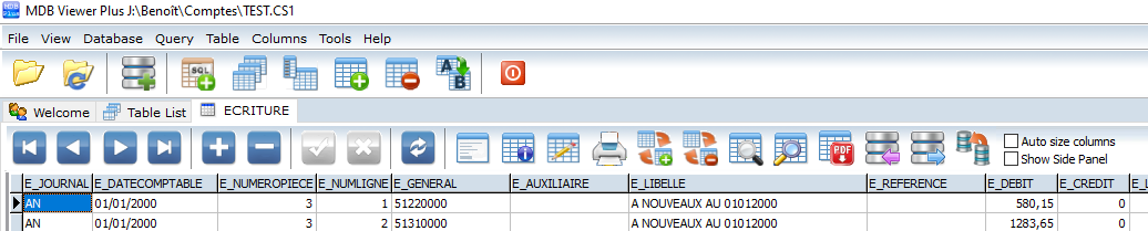 MDB VIEWER table ECRITURES