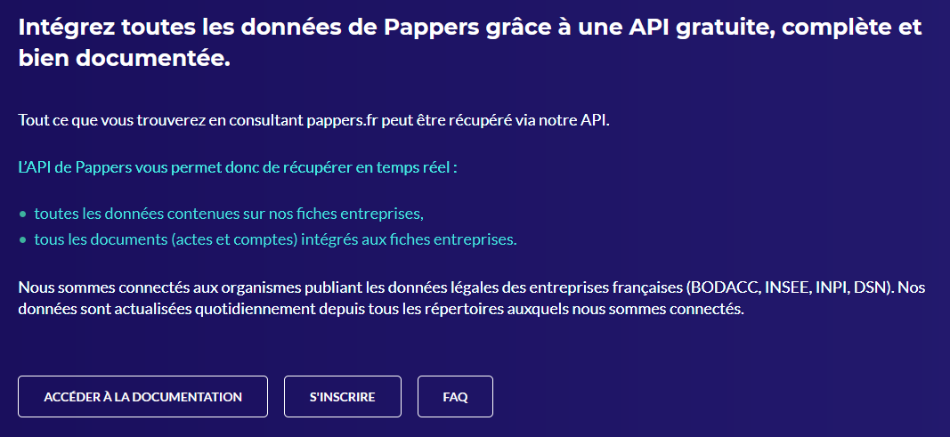 Pappers.fr API accueil