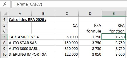 Calcul RFA fonction