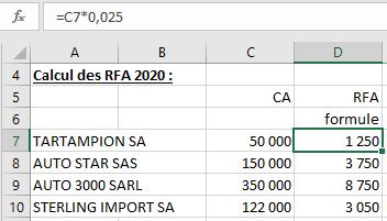 Calcul RFA formule de calcul