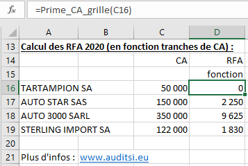 Calcul RFA grille fonction
