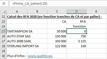 Calcul RFA palier fonction